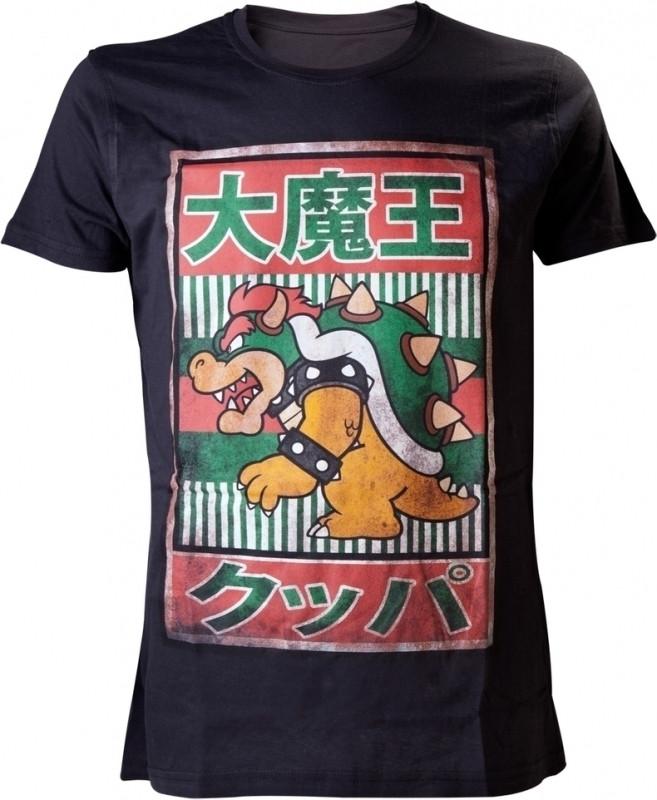 Nintendo Bowser Kanji Mens T-Shirt L (Black)