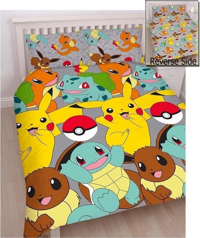 Pokemon Pikachu/Starters Dekbedovertrek (Reversible) 200x200cm (5055285403768)