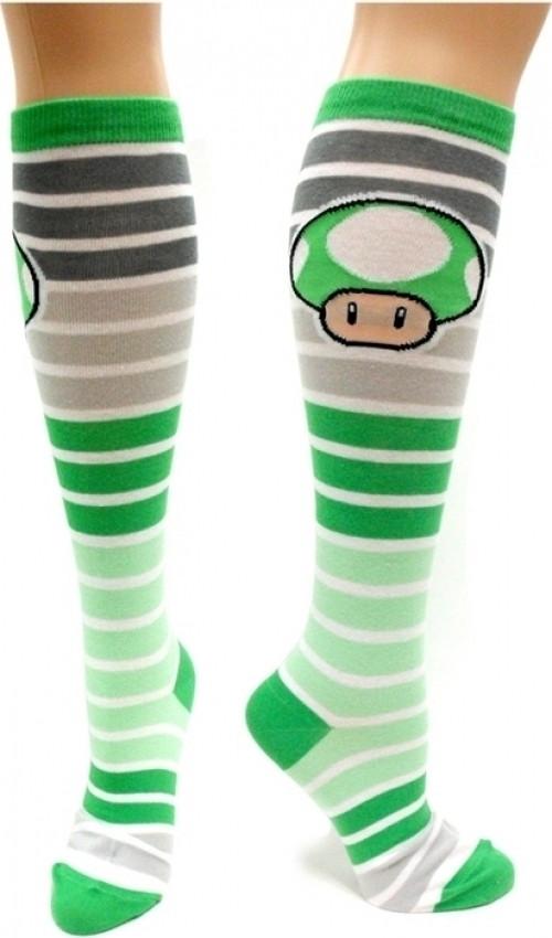 Green Mushroom Stripes Knee High Socks