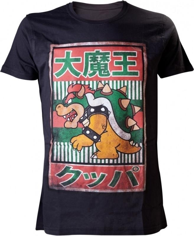 Nintendo Bowser Kanji Mens T-Shirt M (Black)