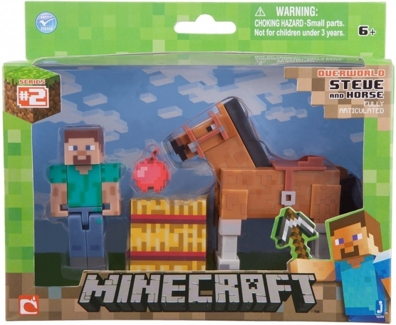 Minecraft figuur Steve met paard bruin