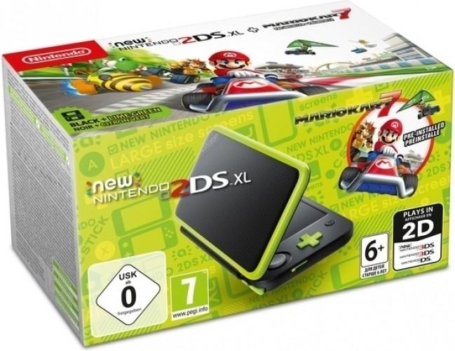 New Nintendo 2DS XL Console + Mario Kart 7 (Black-Lime Green)