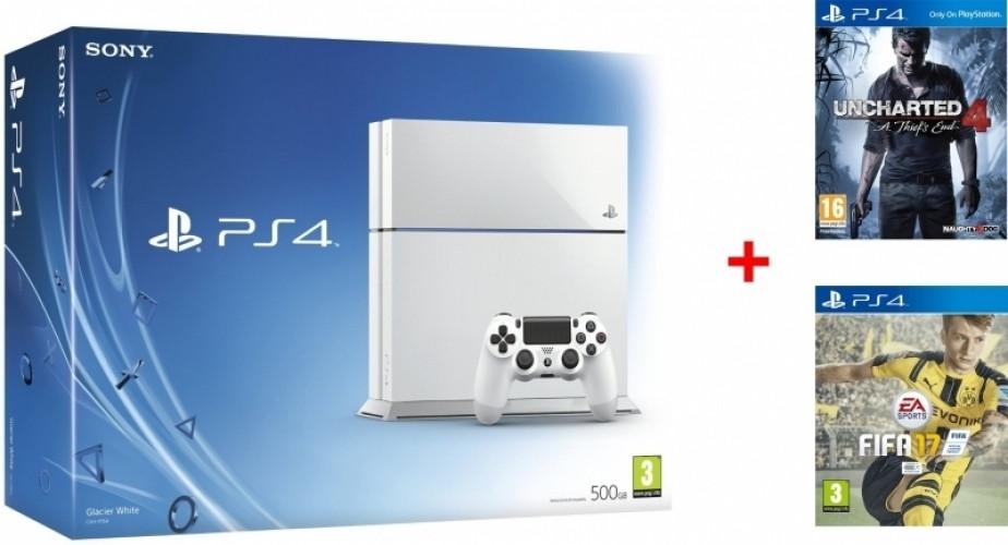 Playstation 4 (Glacier White) 500GB + Ratchet & Clank