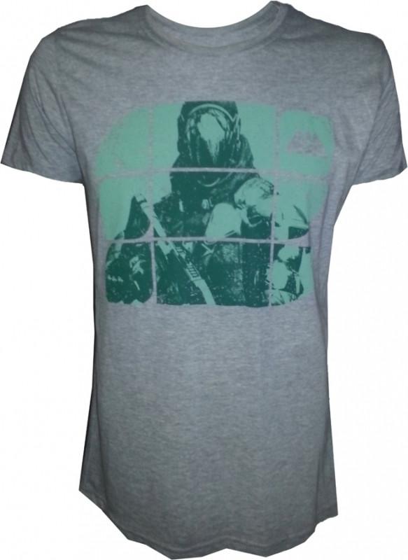 Destiny Grey Melange Green Print T-Shirt