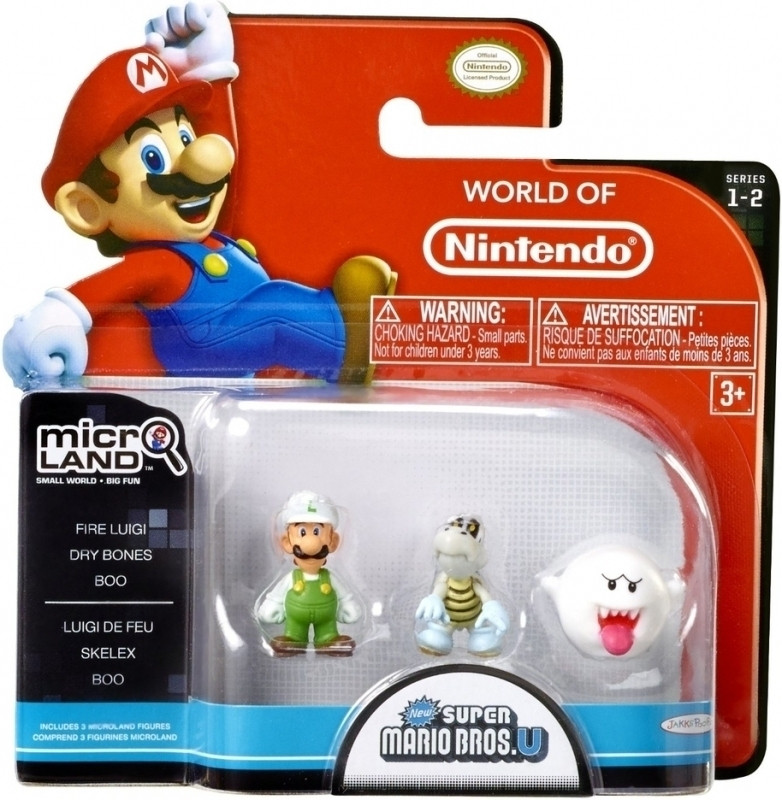 Super Mario Bros Microland Figures - Fire Luigi/Dry Bones/Boo